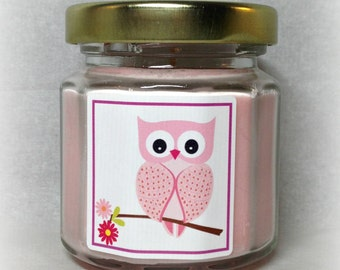 24 Baby Girl Owl Baby Shower Favor Candles, Soy Candles, 4 Ounce Jars, Gold Lid, Cute Pink Owl Favor
