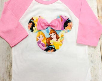 Minnie Mouse Inspired Princess Fabric Silhouette Baseball Raglan Pink Sleeve T-Shirts Tees Disney Family Vacation Trip Matching Shirts