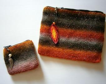 Phönix Gehäkeltes Taschen-Set mit tollem Farbverlauf, Flammen,orange, Anhänger, handmade