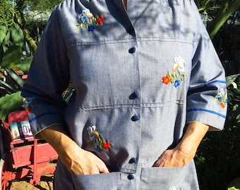 Mexican Folk Art Hand Embroidered Chambray Shirt by Designer Helen Cerda Size M