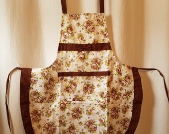 Vintage Bib Apron, Country Kitchen Cotton Fabric of Brown Roses with Yellow and Green Pattern and Brown Ruffle Trim.