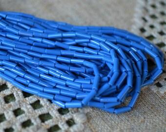 1 Hank Seed Bugle Beads 6x2mm Opaque Patriot Blue Preciosa Czech Glass