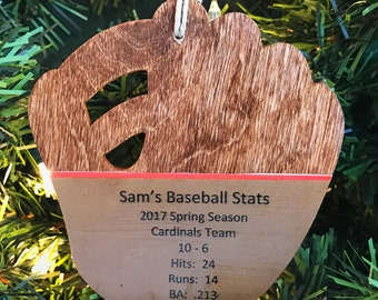 Personalized Baseball Ornament, Baseball Stats Ornament, Baseball Coach Gift Ideas, Player Gifts for Baseball Players, Team Gifts, Softball