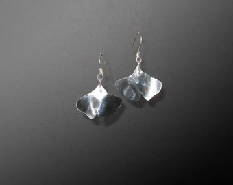 Sterling Dangle Ginkgo Leaf Earrings (MX-11001-001)