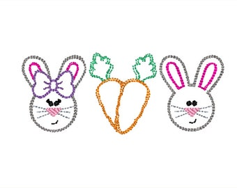 Bunnies Carrot Easter Scribble Stitch Embroidery Design 5x7 6x10 8x8 8x12
