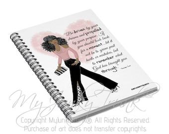 Driven- Fashion Illustration Spiral Notebook Black Woman Art Natural Hair Art