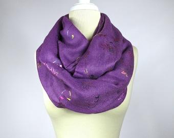 Purple infinity scarf,  floral metallic print scarf, soft autumn scarf