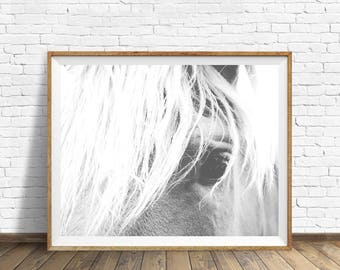 Horse Print, Horse Wall Art, Black and White, Minimalist Prints, Horse Photo, Minimalist Poster, Printable Art, Digital Download
