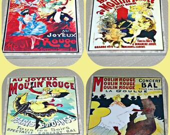 Moulin Rouge - Paris Caberet - Paris France - Can Can - Red Windmill - Dance Revue - Moulin Rouge Paris - Paris Decor - Tile Coasters