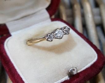 Vintage 18ct Gold Ring, Engagement, Diamond Trilogy, Size L1/2, 18k 750 Gold