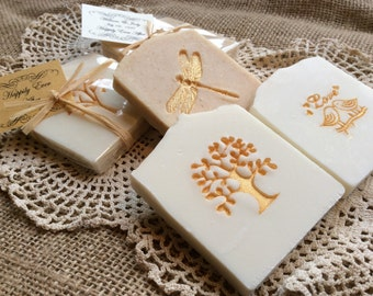 30 Gold Accented Wedding Favor Soap, Bridal Shower Favors, Baby Shower Soap Favors - 30 custom favors with Raffia Tie