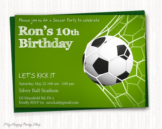 Soccer Birthday Invitation Soccer Party Sport Invitation