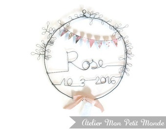 Wire Laurel Crown birthday gift, name and date of birth, baby pink Bunting