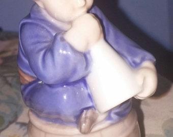 "Vintage Royal Copenhagen Denmark ""Boy with Horn"" Fine Porcelain Figurine Excellent Condition"
