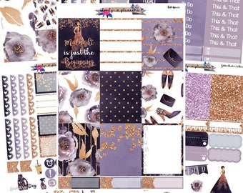 VERTICAL KIT, Midnight, New years kit, new years eve, sticker kit, planner stickers, ec vertical,