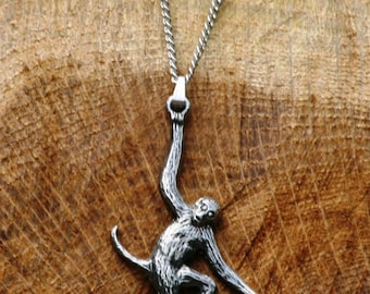Monkey Pewter Necklace & Pendant Ladies Jewelry Gift