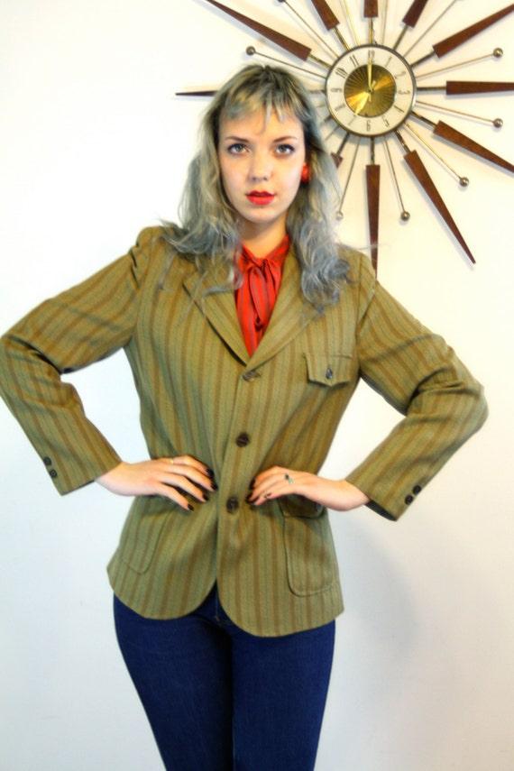 Vintage 70s Ladies Jacket by ESSKAY PREP Olive Green Brown Stripe Fitted Western Cut Shoulder Pads Back Slit Light Coat 1970s Womens Blazer
