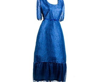 Vintage 1970s Lace Overlay Dress