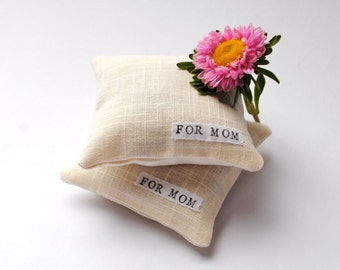 For Mom- Balsam Sachets SET of 2 - Hand Stamped, White Linen, Aromatic, Eco Friendly, Sachet, Spring Pillows