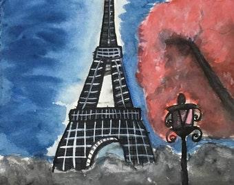 Eiffel Tower Painting in Water Colour