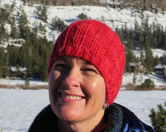 Hand Knit Alpaca Beanie - Hand Painted - Thick and Warm - Your True Love Too - Red