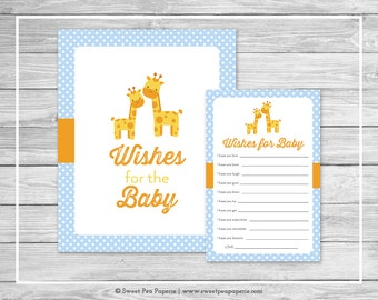 Giraffe Baby Shower Wishes for Baby Cards - Printable Baby Shower Wishes for Baby Cards - Blue Giraffe Baby Shower - Baby Wishes - SP130