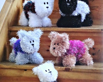 Soft Toy Pattern K9056 Westie Style Dogs Soft Toys Knitting Pattern in Tinsel Chunky (Bulky) King Cole