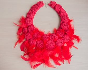 Wedding Collar Red Feather Statement Bib Necklace Best Bridal Necklace Wedding Alternative Wedding Feather Fabric Rose Old Hollywood Fashion