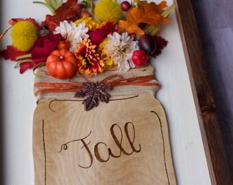 Fall Wood Mason Jar Decor Sign
