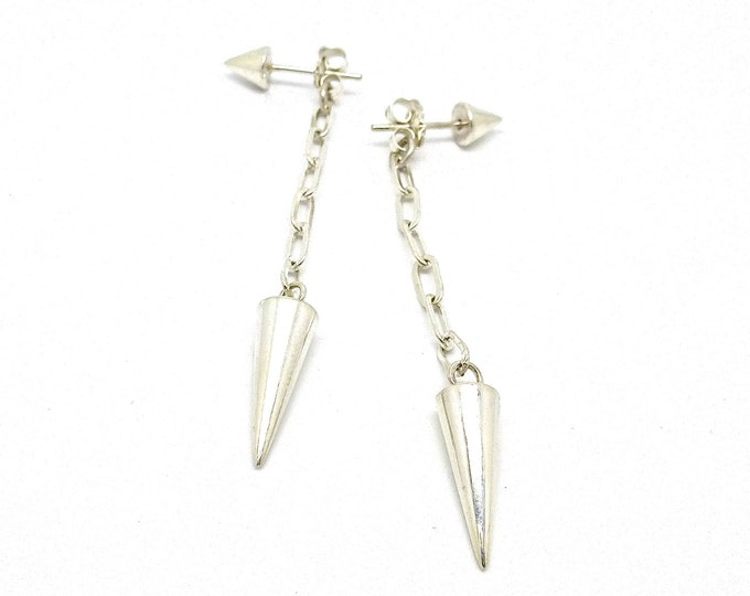Long Sterling Silver Spike and Chain Jacket Earring Studs