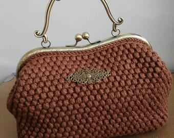 Viscose Brown handle in antique Bronze Metal purse crocheted felt lining