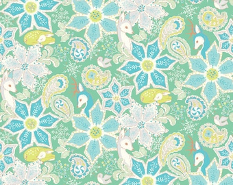 Christmas Dear from Blend Fabrics - Full or Half Yard Endearing Poinsettias Green - Deer and Poinsettias in Blue and Green