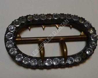 vintage belt buckle  rhinestone