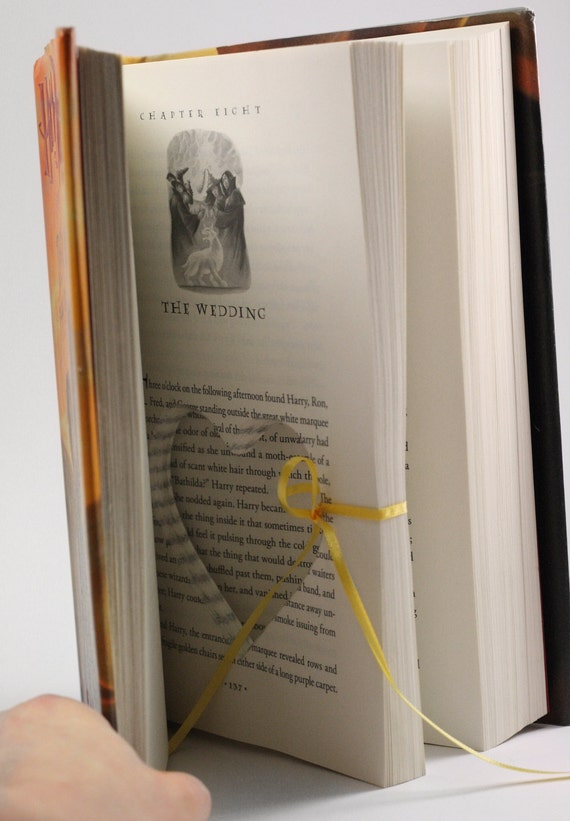 Harry Potter Wedding Engagement Ring Holder Hollow Book
