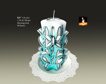 Decorative Candle, unique candle, carved candles, Teal colour candle