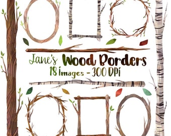 Watercolor Wooden Frames and Borders Clipart - Tree Borders Download - Instant Download - Twigs - Leaves - Birch - Commercial Use