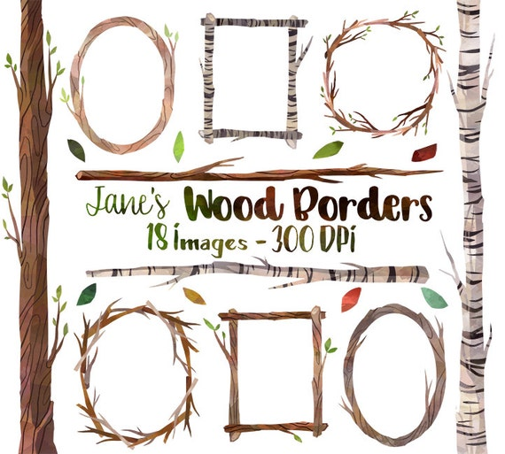 Watercolor Wooden Frames And Borders Clipart Tree