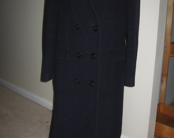 Navy Blue Cashmere Blend Double Breasted Ladies Coat 1970's Size 12