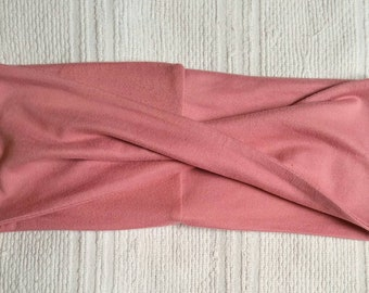 Old cross women headband pink brushed polyester