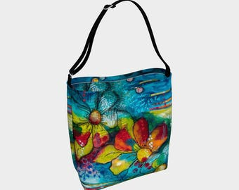 Printed tote bag with floral grocery bag biking tote bag