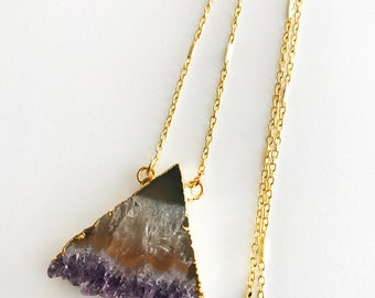 Amethyst Triangle Long Necklace