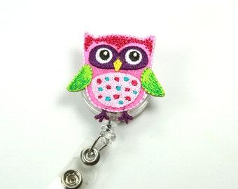 OWL Badge Holder, Owl badge Reel, Owl button badge, Badge Holder, Felt Lanyard, Pink owl lanyard
