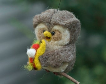 Needle Felted Owl Ornament - Hungry for Tacos