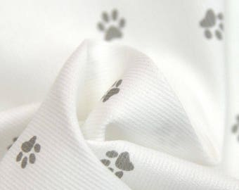 Cotton fabric by the metre-grey dog paw - in closely to order