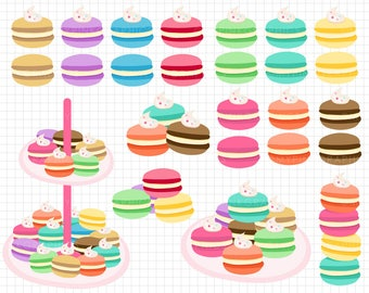 25 Macaroons Clip Art - Digital Macaroons, Macaroon Clipart, Digital Download, Commercial Use, Food Clipart, Birthday Clipart - MPG98