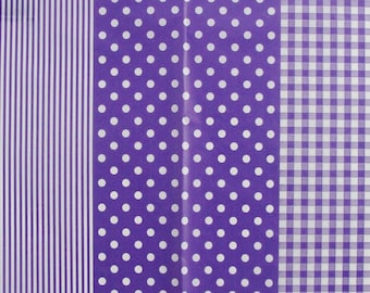 Set of 3 sheets of paper Decopatch stripes / dots / purple gingham