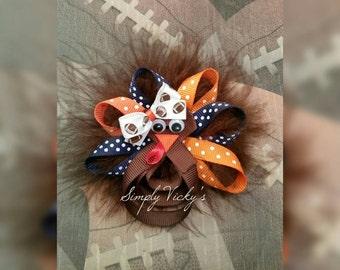 Thanksgiving Auburn Turkey Hair Bow