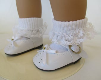 "50's Mary Janes Doll Shoes to fit your 18"" American Girl Doll in White or Black"