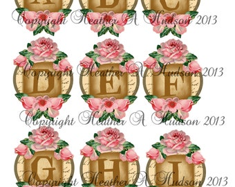 Pink Alphabet Shabby Chic Vintage Roses 5 Sheets Digital Printable DIY focals and Banners  Collage