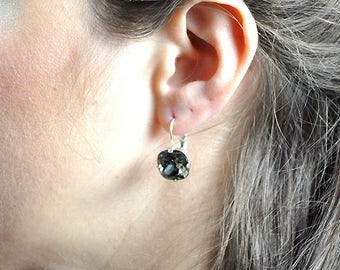 Cocktail earrings, Swarovski crystals, hanging earrings, shiny silver, Black Diamond, earrings, earrings, nickel free, handmade
